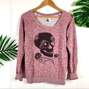 VOLCOM Women's Maroon Graphic Crewneck Sweatshirt